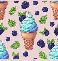 seamless pattern ice cream wild berries vector image