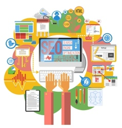 Seo concept computer poster vector