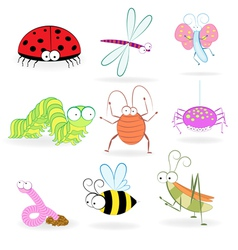 set funny cartoon insects vector image