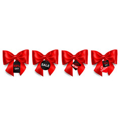 set of big red bows with sale labels vector image