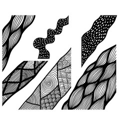 set of hand drawn curly wavy doodle design vector image
