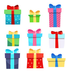 set of nine gift boxes holiday present vector image