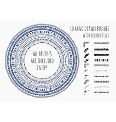 set of ten hand drawn brushes vector image