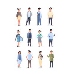 set young asian men women group wearing casual vector image