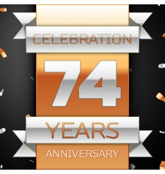 Seventy four years anniversary celebration golden vector