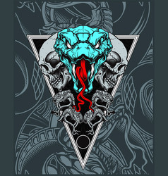 skull with snake hand drawing vector image