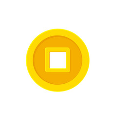 square hole chinese coin cash flat icon isolated vector image