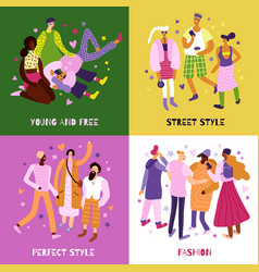 Street fashion concept icons set vector