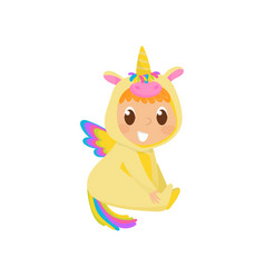 Sweet baby in yellow unicorn costume with wings vector
