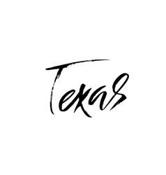 Texas modern dry brush lettering retro vector
