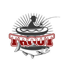 trout fishingemblem template with vector image