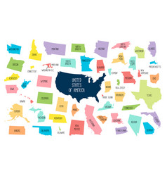 usa map with separated states vector image