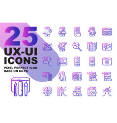 Ux ui application outline gradient icons set base vector
