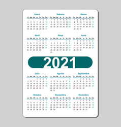 Vertical color pocket calendar on 2021 year vector