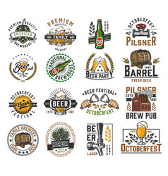Vintage brewing colorful labels set vector