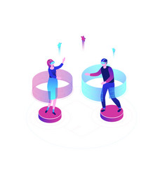 virtual reality - modern colorful isometric vector image