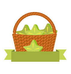 wicker basket with fresh carambola vector image