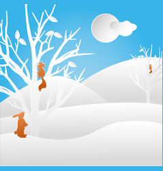 Winter landscape with squirrel and rabbit vector