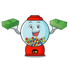 with money bag gumball machine mascot cartoon vector image
