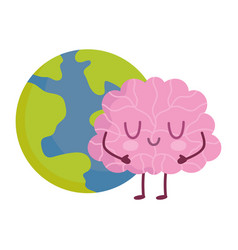 world mental health day cartoon brain planet vector image