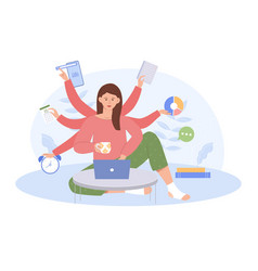 young business woman with multitasking skills vector image