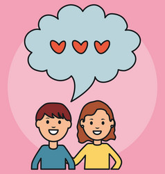 young couple with speech bubble and hearts vector image