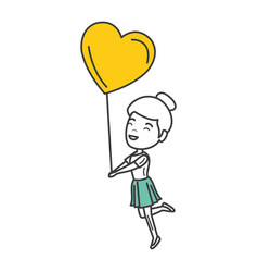Young woman with heart shaped party balloons vector