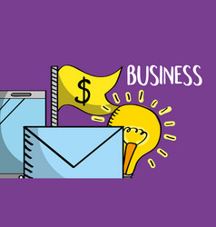 email mobile phone money idea business vector image