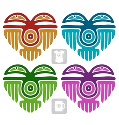 Indian pattern in the shape of heart vector image vector image