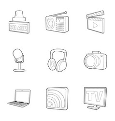 media icons set outline style vector image vector image