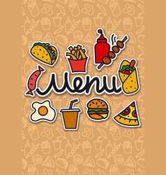 menu cover fast food vector image