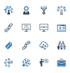 SEO and Internet Marketing Icons Set 2-Blue Series vector image vector image