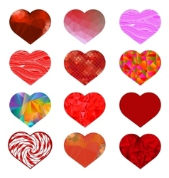 Set of Different Red Hearts vector image vector image