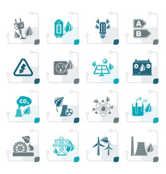 stylized green energy and environment icons vector image vector image