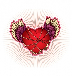 wings heart vector image vector image