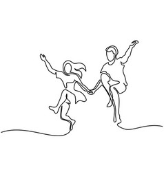 happy jumping couple with guitar vector image