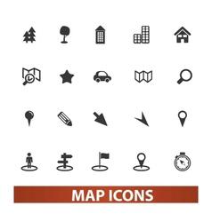 map navigation icons set vector image vector image