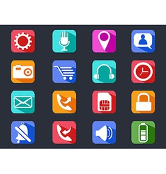 mobile phone long shadow icons set vector image vector image