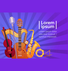 music instruments set banner with copy space vector image vector image
