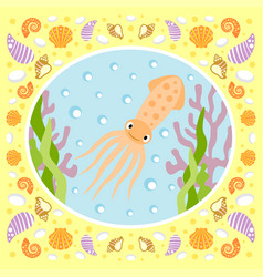 sea background card with squid vector image vector image