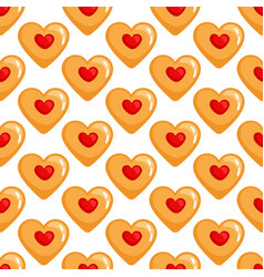 cookies hearts seamless pattern vector image vector image