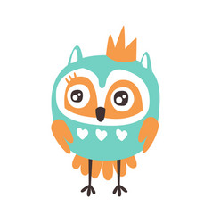 cute cartoon owl bird with crown colorful vector image