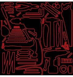 Hardware tools outline vector image
