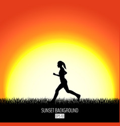 sunset background with running woman black vector image vector image