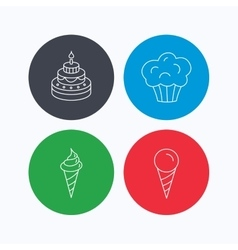 Cake ice cream and muffin icons vector image vector image