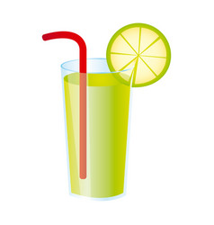 colorful realistic lemon freshness drink cocktail vector image vector image