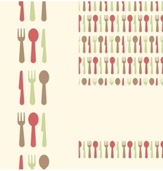 Set of three utensils seamless patterns and vector image