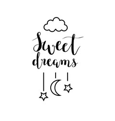 sweet dreams calligraphy design vector image