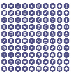 100 lunch icons hexagon purple vector image