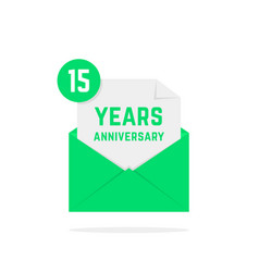 15 years anniversary icon in green letter vector image